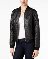 Bar III Quilted Faux-Leather Bomber Jacket, Only at Macy's