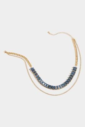 francesca's Keely Baguette Layered Choker - Light Blue