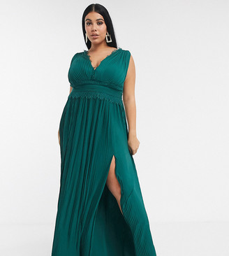 ASOS DESIGN Curve premium lace insert pleated maxi dress in forest green