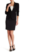 The Kooples Genuine Leather Trim Wool Blend Pencil Skirt