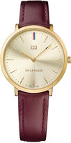 Tommy Hilfiger Women's Sophisticated Sport Burgundy Leather Strap Watch 35mm 1781692
