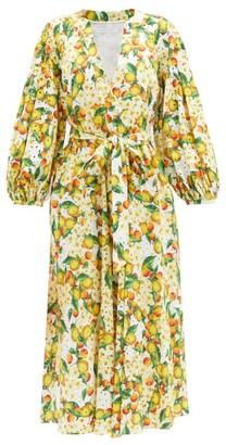 Borgo de Nor Mia Lemonade-print Cotton Broderie-anglaise Dress - Yellow White