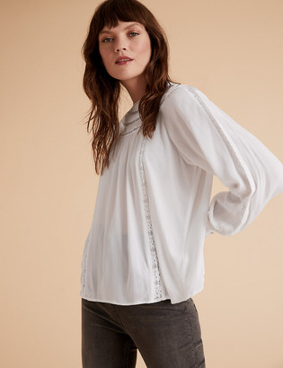 Marks and Spencer Lace Insert Long Sleeve Blouse