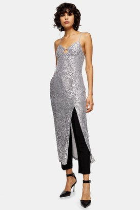 Topshop Womens Silver Sequin Keyhole Midi Dress - Silver
