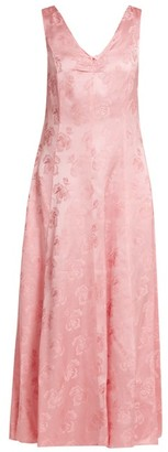 ALEXACHUNG Open-back Floral-jacquard Dress - Womens - Pink