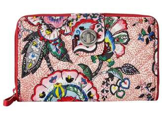 Vera Bradley Stitched Flowers Turnlock