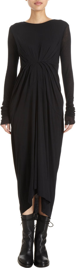 Rick Owens Lilies Gathered Front Long Sleeve Dress