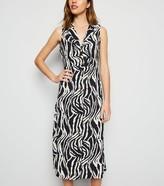 New Look Blue Vanilla Zebra Print Midi Shirt Dress