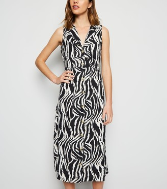 New Look Blue Vanilla Zebra Print Midi Shirt Dress