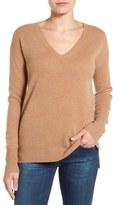 Halogen V-Neck Cashmere Sweater (Regular & Petite)