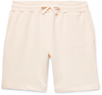 Leon Aimé Dore Aime Dore - Logo-Embroidered Loopback Cotton-Jersey Drawstring Shorts - Men - Neutrals
