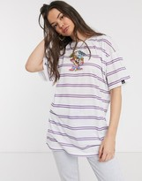 Looney Tunes Vintage Supply x oversized t-shirt with east coast embroidery in stripe