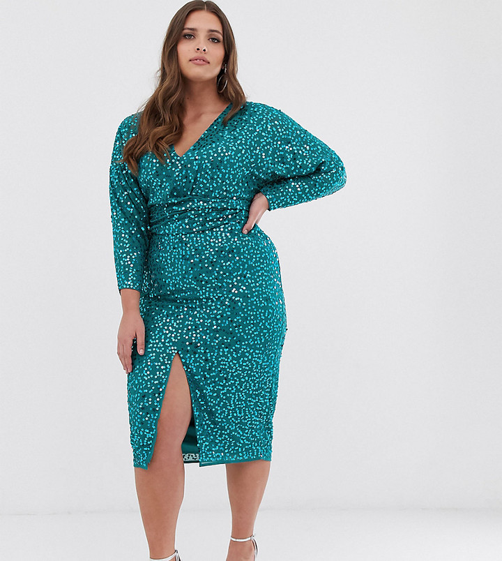 Asos Curve ASOS DESIGN Curve midi dress with batwing sleeve and wrap waist in scatter sequin-Multi