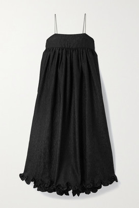 Cecilie Bahnsen Kristal Gathered Ruffled Cloque Midi Dress - Black