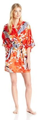 Bottoms Out Women's Printed Satin Short Kimono Robe