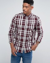 Fred Perry Slim Fit Large Check Shirt Red