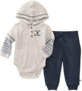 Lucky Brand Blue & Oatmeal Hooded Bodysuit & Joggers - Infant