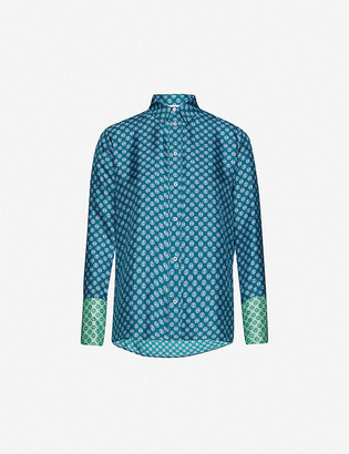Sandro Sapy graphic-print silk-satin shirt