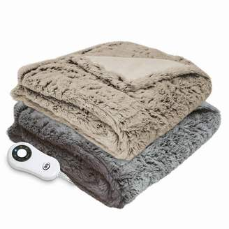 """Serta 50"""" x 60"""" Frosted Faux Fur Electric Warming Throw Blanket"""