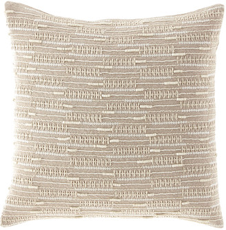 Callisto Home Linear Beaded & Embroidered Linen Pillow