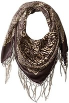 D&Y Women's Aztec Square Scarf with Border and Fringe