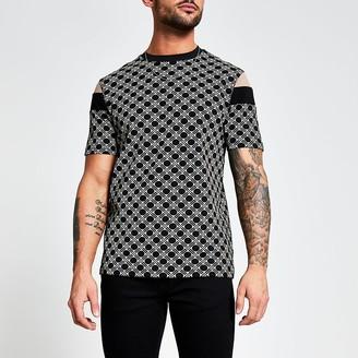 River Island Black geo print blocked slim fit T-shirt
