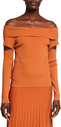Jonathan Simkhai Zayla Compact Knit Off-the-Shoulder Top