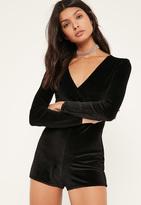 Missguided Petite Exclusive Black Glitter Velvet Romper