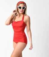 Esther Williams Vintage Inspired 1950s Style Solid Red Swimsuit