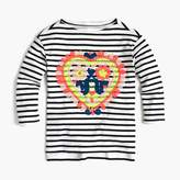 J.Crew Girls' striped T-shirt with embroidered heart