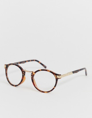 ASOS DESIGN round fashion glasses in tort with clear lenses