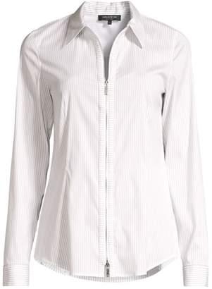 Lafayette 148 New York Connor Pinstripe Zip-Front Shirt