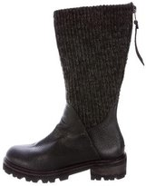 Henry Beguelin Rib Knit-Accented Leather Boots