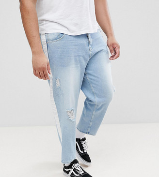 Asos PLUS Skater Jeans In Light Wash With Abrasions And Side Stripe