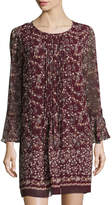 Max Studio Pleated-Front Bell-Sleeve Floral-Print Dress, Wine