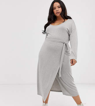 Asos DESIGN Curve long sleeve belted marl jersey knit midi dress-Gray