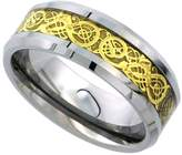 Sabrina Silver 8mm Tungsten 900 Wedding Ring Gold Finish Celtic Dragon Inlay Beveled Edges Comfort fit, size 11.5
