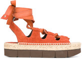 Paloma Barceló platform tied-up sandals - women - Leather/Suede/rubber - 38