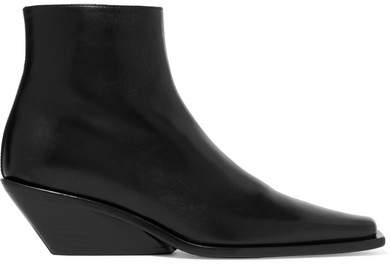 Ann Demeulemeester Glossed-leather Ankle Boots - Black