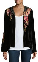 Johnny Was Malui Floral-Embroidered Velvet Hoodie, Plus Size