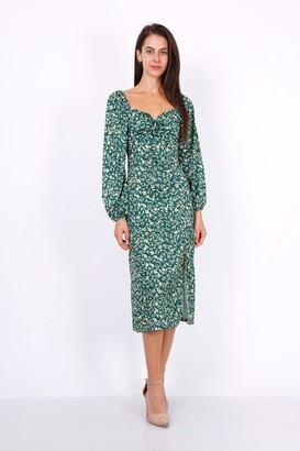 Lilura London Leaf Print Ruched Neckline Midi Dress In Green
