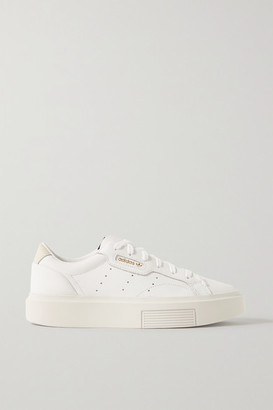 adidas Sleek Super Suede-trimmed Leather Sneakers - White