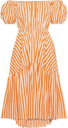 Caroline Constas Bardot Off-the-shoulder Striped Cotton-blend Poplin Dress