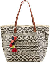 Capelli of New York Straworld Two-Tone Straw Tote Bag