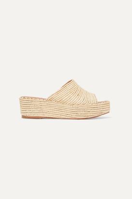 Carrie Forbes Karim Woven Raffia Wedge Sandals - Beige