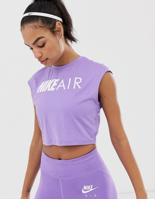Nike Running air crop t-shirt in purple