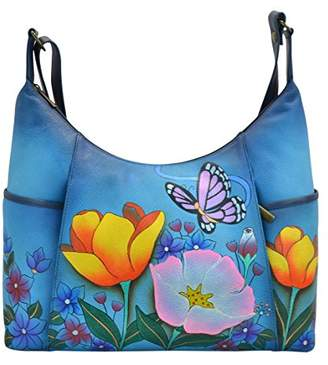 Anuschka Anna by Women's Genuine Leather Large Hobo Handbag | Hand Painted Original Artwork | Zip-Top Organizer | Floral Garden Denim