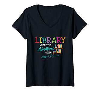 LIBRARY Womens Books Where Adventures Begin Librarian Reading Book V-Neck T-Shirt