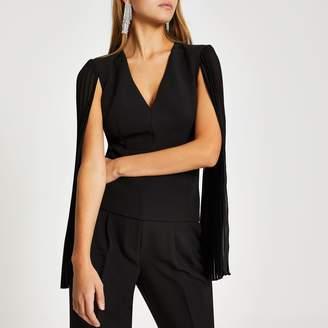 River Island Womens Black long sheer pleated sleeve V neck top