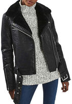 Topshop TALL Vardy Faux Fur-Lined Jacket